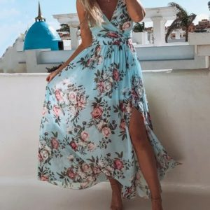 Lady with a boho dress on vacation in greece Floral Print V Neck High Slit Maxi Beach Dress