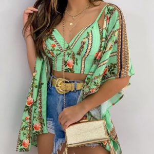 floral crop top and cover up set